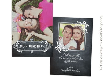 INSTANT DOWNLOAD - Psd Christmas Card Photoshop template - Chalkboard Love - E557