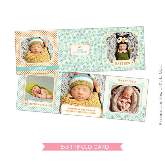 INSTANT DOWNLOAD - 5x5 Accordion card - Birth Announcement - Lovely Patterns- E326