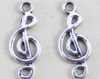 10 Music Note Charms Antique Silver Tone 19 x 7 mm - ts485