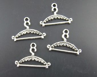 Hanger Charm, 8 Charms, Antique Silver Tone 24 x 16 mm - ts526