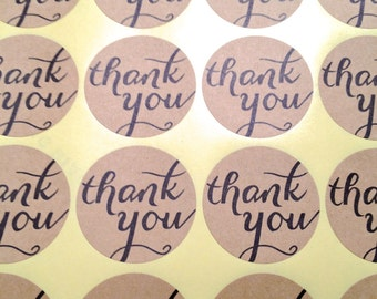 "Kraft Thank You stickers.  100 1 1/2"" Adhesive labels for weddings, parties, Anything!  Round 1.5"" seals."