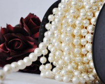 14mm Ivory Faux Pearl Beads on Spool | Ivory Pearl Garland  | Ivory  Wedding Pearls | 60 Feet