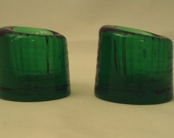 Vintage Wheaton Glass Nuline Pair Green Glass Asymetrycal Candle Holders
