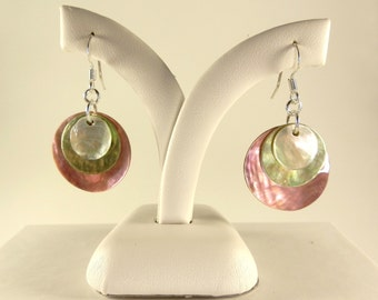 Light Pink, Lime Green & White Earrings