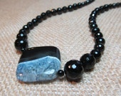 Black Onyx Agate Gemstone Necklace by 2 Girls Forever