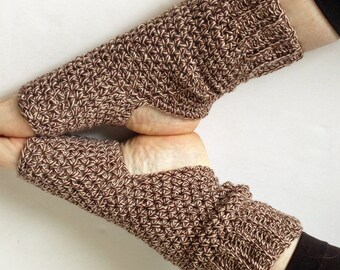 Handmade Yoga Socks - Leg Warmers - 100% Cotton - Brown Tweed - Crocheted - Ticklebebe Original