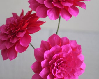 3 Paper Dahlia for wedding bouquet,table deocoration