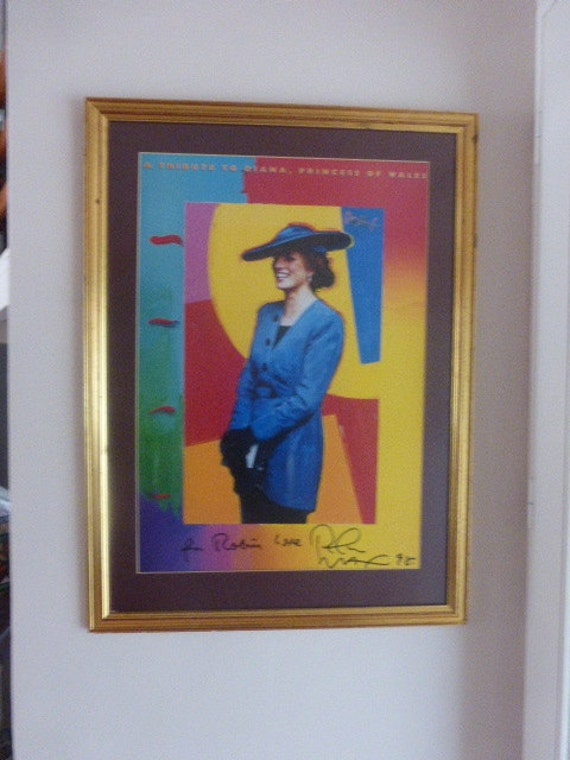 items similar to signed poster of lady diana by peter max on etsy. Black Bedroom Furniture Sets. Home Design Ideas