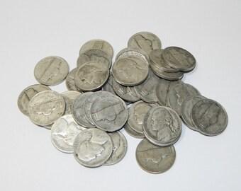 Lot of 40 Silver Jefferson Nickels War Time