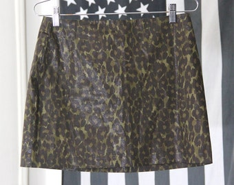 Stretchy Shimmery 90s Army Green Leopard Print Mini Skirt