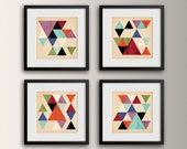 "Mid Century Geometric Art - Set of 4 Square Prints - Modern Wall Art - Wall Decor Grouping - "" Tangent """