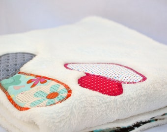 Racoon and friends ultra cuddle fleece baby blanket, Quilted toddler blanket, travel blanket, baby blanket with applique mushroom