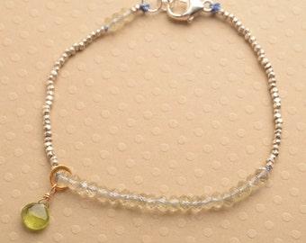 Chakra Bracelet,  August Birthstone Bracelet, Hill Tribe Silver Bracelet, Yoga Bracelet, Gemstone Healing Bracelet, Peridot Bracelet