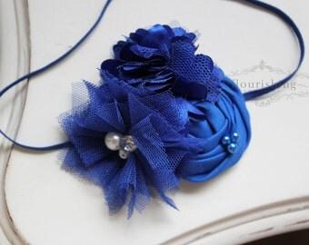 Royal Blue Flower Headband, newborn headbands, back to basics headbands, blue headbands, photography prop