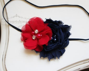 Red, Navy and White Headbands, 4th of july headbands, fourth of july headbands,  red headband, newborn headbands, photography prop