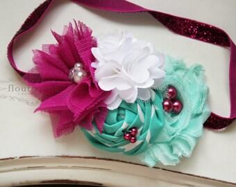 Fuchsia Pink and Mint headband, baby headbands, newborn headbands, fuchsia headbands, back to basics headbands,  photography prop