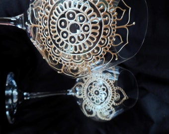 CUSTOM hand painted glassware in henna syle designs-  gift with symbolism. One of a kind, crystal wine glasses. Option to personalize