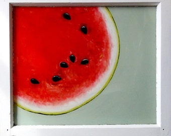 SOLD!!!  Summertime - Reverse Oil Watermelon Painting on Vintage Window