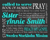 Custom Personalized LDS Missionary Gift Poster Printable Digital Subway Art 11x14 - Plus Bonus!