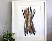Driftwood Watercolor Painting, Sticks Nature Art, Giclee Art Print, Archival Print - Driftwood Bundle