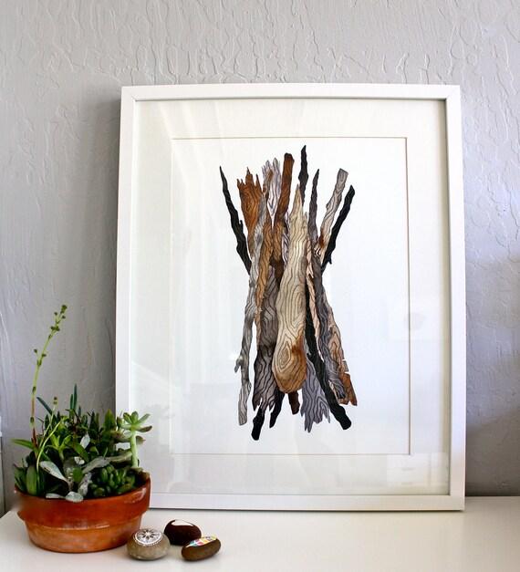 Driftwood Watercolor Painting, Sticks Nature Art, Giclee Art Print, Archival Print - Driftwood Bundle