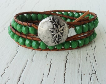 Leather Wrap Bracelet, Leather Bracelet, Double Wrap Bracelet, Green Flower Bracelet, Boho Bohemian bracelet, Rustic Bracelet, Boho Wrap