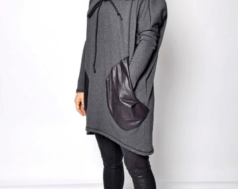 Black Extravagant Maxi Hooded Top Extravarant Maxi HoodieQuilted Cotton Warm Top Oversized sleeves Top maxi Dress