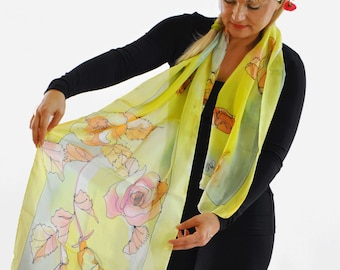 Silk scarf Painted silk scarf Hand painted silk scarf Woman silk scarf Roses Painted flowers yellow Roses Flowers Painted by hand silk Scarf