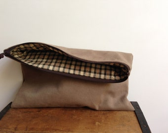 Men's Travel Pouch, Brown Travel Pouch (Large), Clutch, Zipper Pouch