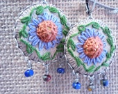 Beaded, embroidered fabric drop earrings