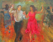 Oil on Canvas Painting of a Couple Dancing Tango at a Milonga.
