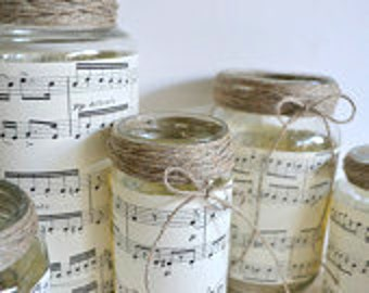 Vintage Music Sheets, Organic Hemp & Repurposed Glass Jars Vases Set, for Table Toppers. Wedding and Home Decor Decoration Brown Black White