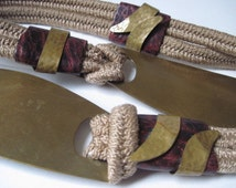 Vintage Statement Boho Belt with Brass Closure and Leather and Brass Accents