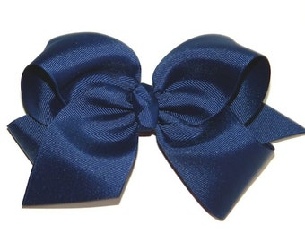 Light Navy Extra Large Hair Bow - Uniform Hair Bow, Extra Large Hair Bow, Light Navy Hair Bow, Navy Hair Bow, School Uniform Hair Bows