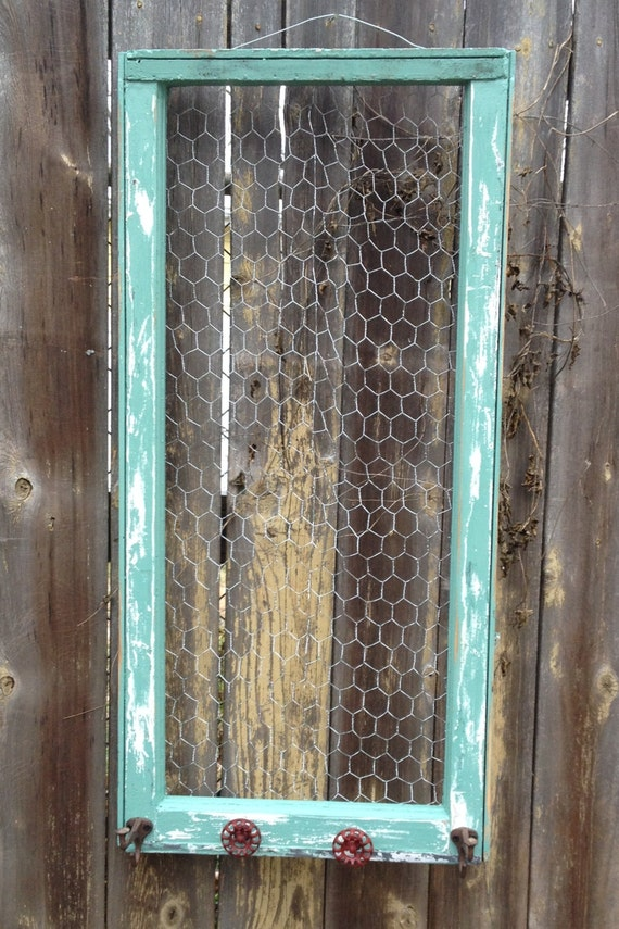 Reclaimed Old Window Shabby Chic Jade Frame Chicken Wire