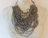 Crocheted Grey Paper Thread & Blue Mercerized Thread Chunky Necklace w/ Nacre Buttons