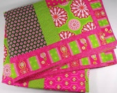 Patchwork Quilt, Twin Size Quilt, Gypsy Girl, Hot Pink, Lime Green