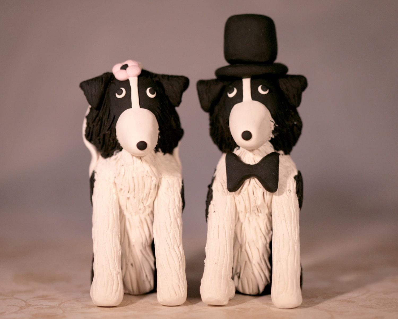 Border Collie Dog Wedding Cake Topper