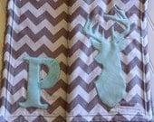 Chevron Stripe Monogrammed Crib Blanket, Chevron Stripe, Deer Chevron Baby Blanket