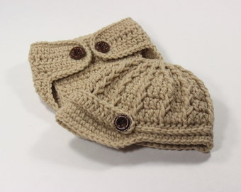 Newborn Boy Baby Diaper Cover and Hat - Beige -  Photography Prop Newsboy Cap - Knitted / Crochet