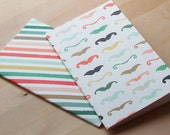 Painted Journals // Mustache Journals // Striped Jotters // Notebooks // Mini Journal // Monthly Calendar // Set of 2 journals