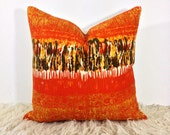 "60s Throw Pillow Vintage Heals Fabric Nicola Wood "" Vibration "" Orange Cushion Cover"