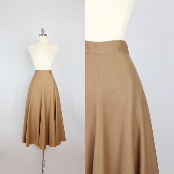 vintage camel brown wool skirt vintage wool midi skirt