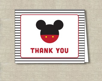printable Mickey Mouse thank you card