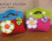 Girls Bag / Purse with Large Flower and Butterfly, Crochet Pattern PDF,Easy, Great for Beginners,  Pattern No. 10