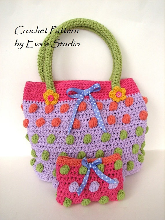 Crochet Girl Bag : Girls Bag / Purse/ Wallet, Crochet Pattern PDF,Easy, Pattern No. 72