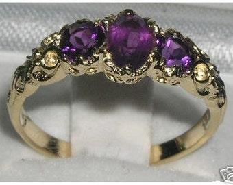 18K Yellow Gold Natural 3 Amethyst Ring, Amethyst Wedding Ring, English Antique Style Trilogy Ring - Customize:9K,14K Gold