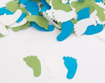 Baby Boy Shower Decoration Confetti Footprint Blue and Green