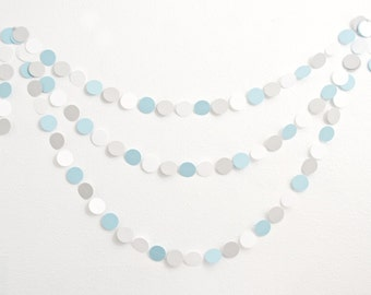 Paper Garland -  14ft - Gray and Blue - Baby Shower Decoration - Birthday Party Garland