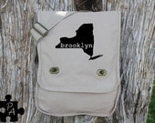 New York BROOKLYN Canvas Messenger Bag - Laptop Bag - iPad Bag - Diaper Bag - School Bag